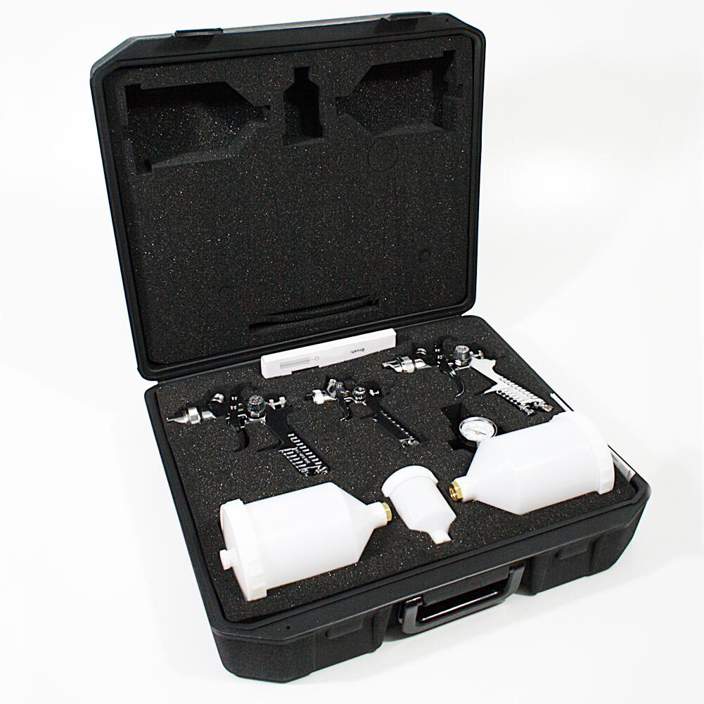 HVLP Spritzpistole Lackierpistole im  Koffer Set mit Zubehör Düsen 1.7 / 1.4 / 0.8