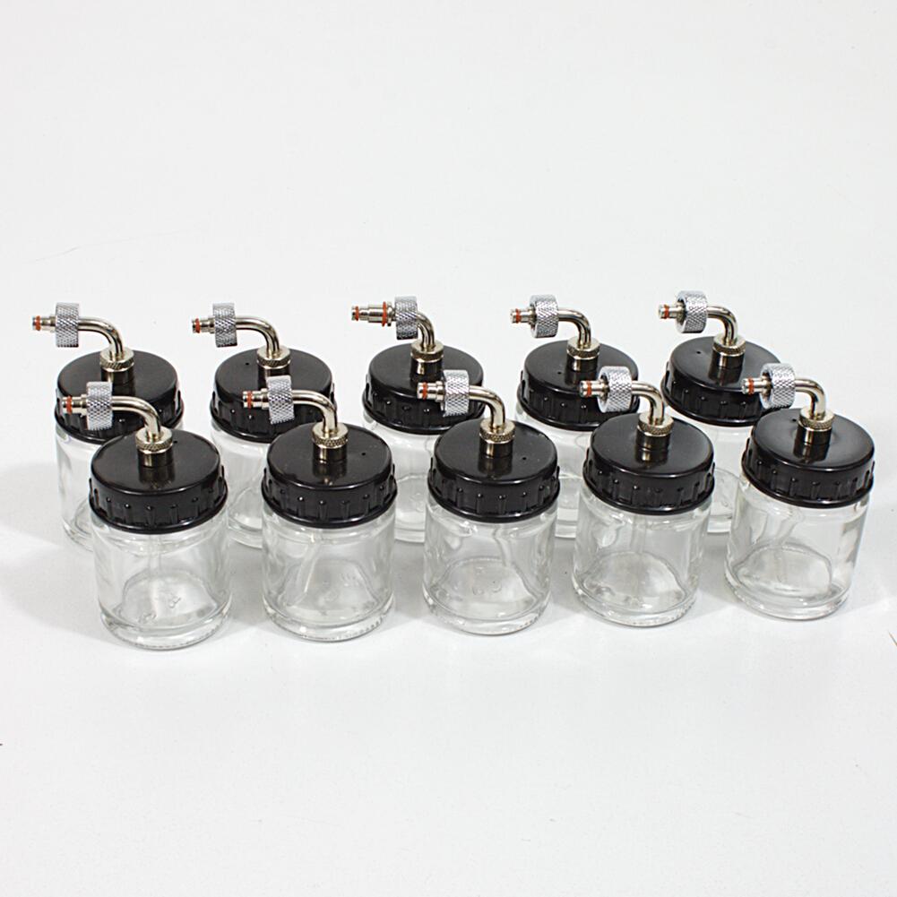 10x Airbrush Farbehälter für Pistole Mischglas Farbtopf Glastopf BD-07