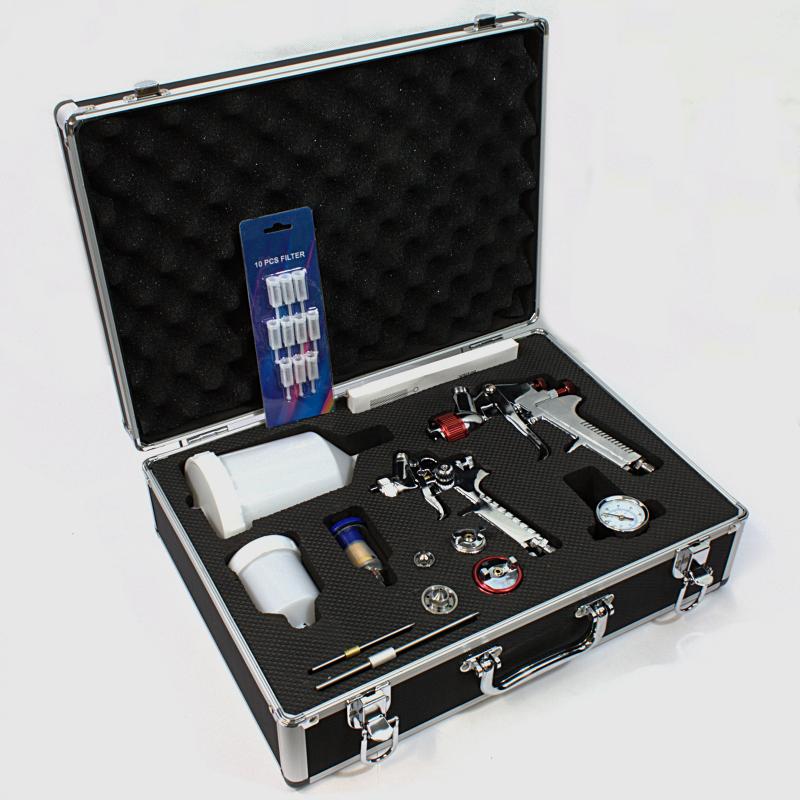 HVLP Spritzpistole Lackierpistole 4 Düsen im Alukoffer Koffer Set mit Zubehör