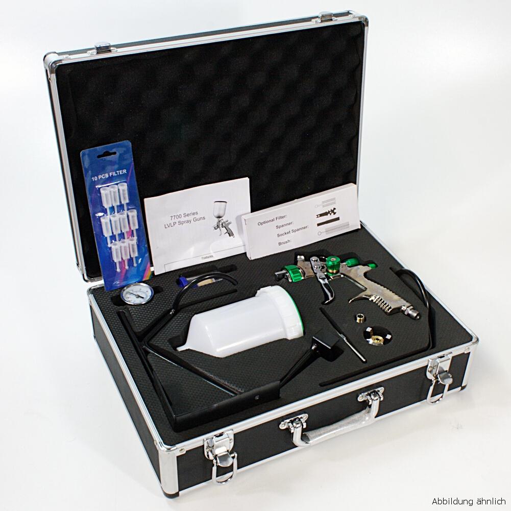 LVLP Spritzpistole Lackierpistole im Alukoffer Koffer Set mit Zubehör Düsen 1.3 / 1.8